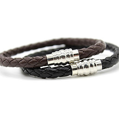 Men's Leather Chain Bracelet - Unique Design Basic Plaited Jewelry Black Brown Bracelet For Christmas Gifts Daily Sports