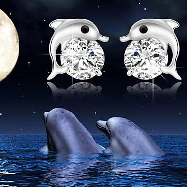 Oorknopjes Schattig Werk Birthstones Geboortestenen Parel Legering Dolfijn Dier Sieraden