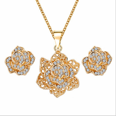 Mulheres Conjunto de Jóias Pedraria & Cristal Zircônia Cubica Imitações de Diamante Rosa Folheado a Ouro Liga Rose Flor Floral Luxo Fofo
