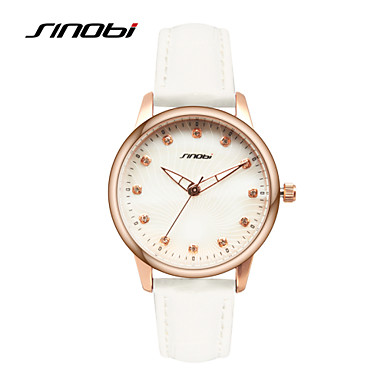 SINOBI Mulheres Relógio de Moda Quartzo Impermeável Couro Banda Branco Branco