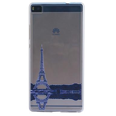 Para Capinha Huawei / P8 / P8 Lite Áspero / Com Relevo Capinha Capa Traseira Capinha Torre Eiffel Macia TPU HuaweiHuawei P8 / Huawei P8