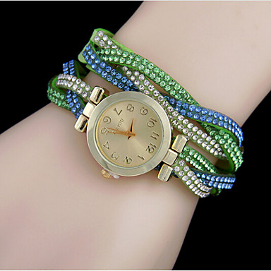 Mulheres Relógio de Moda Bracele Relógio Quartzo Relógio Casual Couro Banda Preta Branco Azul Vermelho Marrom Verde Rosa Rose