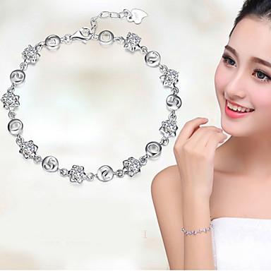 Dames Kristal Armbanden met ketting en sluiting / Bedelarmbanden - Sterling zilver Armbanden Wit / Paars Voor Bruiloft / Feest / Dagelijks