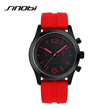 SINOBI Masculino Relógio Esportivo Relógio de Pulso Quartzo Impermeável Relógio Esportivo Silicone Banda Luxuoso Vermelho Vermelho