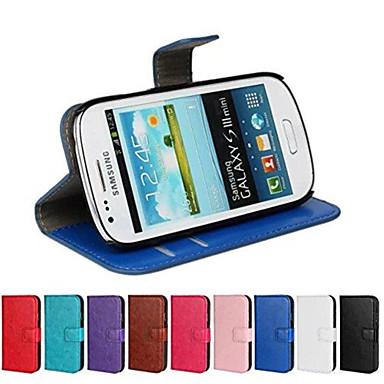 Hülle Für Samsung Galaxy Samsung Galaxy Hülle Kreditkartenfächer / mit Halterung / Flipbare Hülle Ganzkörper-Gehäuse Solide PU-Leder für S3 Mini