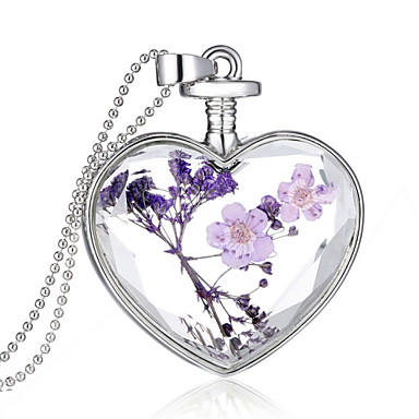 cheap Pendant-Crystal Pendant Heart Ladies Fashion everyday fancy Sterling Silver Purple Necklace Jewelry For Wedding Party Daily Casual