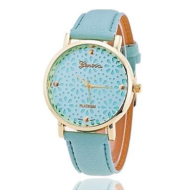 Xu™ Dames Modieus horloge Kwarts Hol Gegraveerd PU Band Bloem Zwart Wit Groen Roze Beige