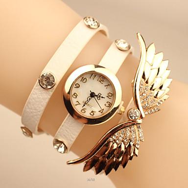 Mulheres Bracele Relógio Relógio Elegante Relógio de Moda Quartzo imitação de diamante Relógio Casual Couro Banda Elegant Preta Branco