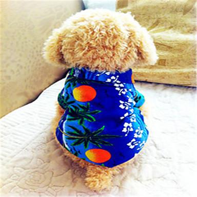Hond T-shirt Hondenkleding Flora / Botanisch Blauw Katoen Kostuum Voor huisdieren Heren Vakantie Modieus