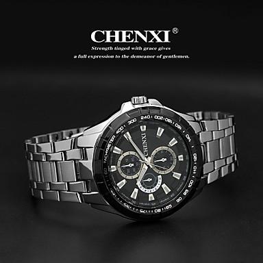 CHENXI® Heren Polshorloge Kwarts Japanse quartz Roestvrij staal Band Zilver Wit Zwart