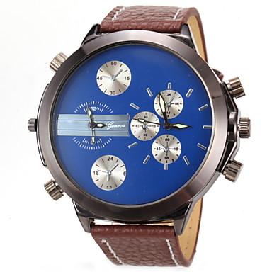 Masculino Relógio Militar Relógio de Pulso Dois Fusos Horários Quartzo Couro Banda Azul Vermelho Laranja Marrom