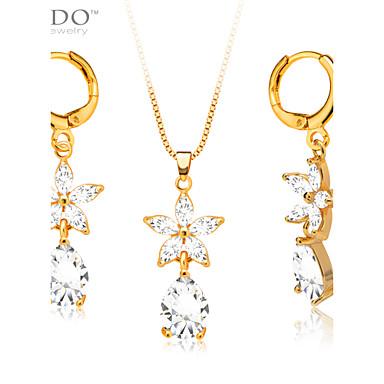 Feminino Conjunto de Jóias Cristal Casamento Festa Diário Casual Cristal Chapeado Dourado Imitações de Diamante Brincos Colares