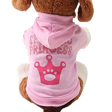 Kedi Köpek Kapüşonlu Giyecekler Köpek Giyimi Tiaralar ve Taçlar Pembe Pamuk Kostüm Evcil hayvanlar için Kadın's Sevimli Moda