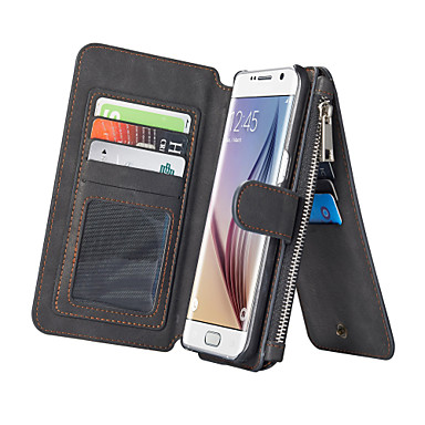 tok Για Samsung Galaxy Samsung Galaxy S7 Edge Θήκη καρτών Πορτοφόλι με βάση στήριξης Ανοιγόμενη Πλήρης Θήκη Συμπαγές Χρώμα PU δέρμα για