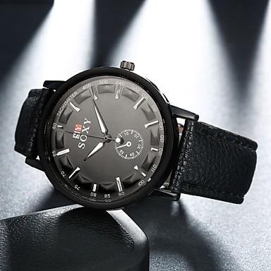 Masculino Relógio de Pulso Quartzo Relógio Casual Couro Banda Preta Branco Preto Marron