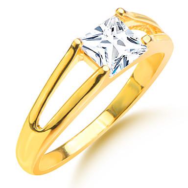 Heren Dames Ringen voor stelletjes Goud Zirkonia Verguld Gesimuleerde diamant Vierkant Geometrische vorm Bruiloft Feest Dagelijks Causaal