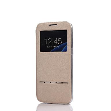 Para Samsung Galaxy S7 Edge Com Suporte / com Visor / Flip Capinha Corpo Inteiro Capinha Cor Única Couro PU Samsung S7 edge