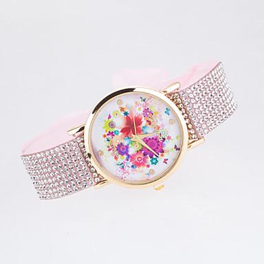Dames Kwarts Gesimuleerd Diamant Horloge imitatie Diamond Stof Band Bloem Informeel Modieus Zwart Wit Blauw Rood Bruin Groen Roze Paars