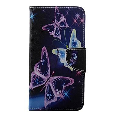Para Samsung Galaxy Capinhas Porta-Cartão / Carteira / Com Suporte / Flip Capinha Corpo Inteiro Capinha Borboleta Couro PU Samsung S7