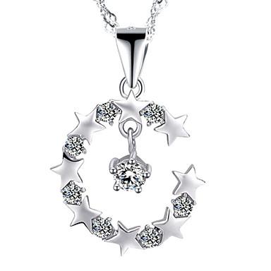 Mulheres Forma Fashion Colares com Pendentes Cristal Prata de Lei Zircão Strass Prateado Colares com Pendentes Festa Diário Casual Jóias