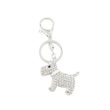 strass set mode schattige metalen hond sleutelhanger / handtas accessoire