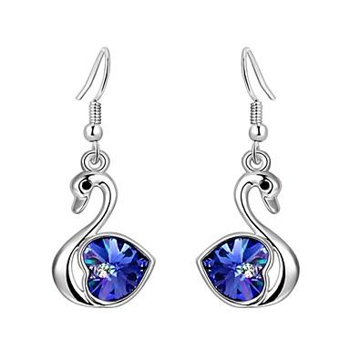 Mulheres Cristal Brincos Compridos - Cristal, Prata Chapeada Cisne Rosa / Verde / Azul Para Festa / Diário / Casual