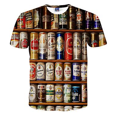economico Abbigliamento uomo-T-shirt Per uomo Attivo Con stampe, 3D Rotonda Bianco XXL / Manica corta / Estate