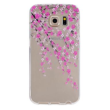 Para Samsung Galaxy Capinhas Case Tampa Transparente Com Relevo Capa Traseira Capinha Flor PUT para Samsung Galaxy S6 edge plus S6 edge