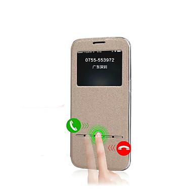 Para Samsung Galaxy Capinhas com Visor / Flip Capinha Corpo Inteiro Capinha Cor Única Couro PU Samsung S7