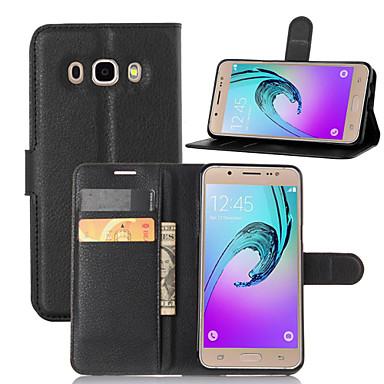 voordelige Galaxy J-serie hoesjes / covers-hoesje Voor Samsung Galaxy J5 (2016) Portemonnee / Kaarthouder / met standaard Volledig hoesje Effen PU-nahka