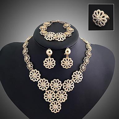 Mulheres Conjunto de Jóias Chapeado Dourado Liga Vintage Festa Multi Camadas Europeu Corrente Bracelete Brincos Colares Anél Jóias de