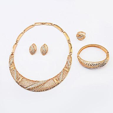 Feminino Conjunto de Jóias Moda Europeu Strass Liga Colares Brincos Anéis Bracelete Para Casamento Festa Diário Casual Presentes de