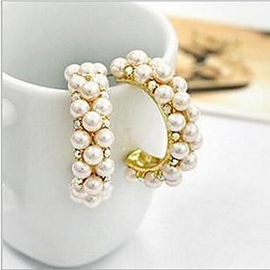 Dames Oorknopjes Ring oorbellen Luxe Parel Imitatieparel Kubieke Zirkonia Gesimuleerde diamant Legering Cirkelvorm Sieraden Kostuum