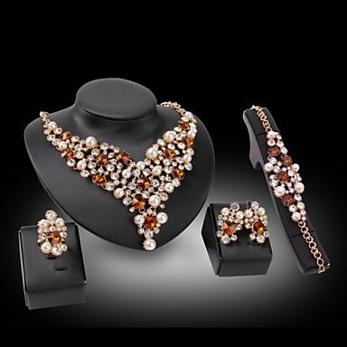 Női Szintetikus gyémánt Szerelem luxus ékszer Szintetikus drágakövek Gyöngy 18K arany Hamis gyémánt 1 Nyaklánc 1 Pár fülbevaló 1 Karkötő