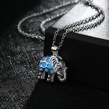 여성용 코끼리 팬던트 목걸이 - Illuminated 귀여운 스타일 패션 코끼리 동물 그린 블루 밝은 블루 목걸이 제품 결혼식 파티 일상 캐쥬얼 스포츠