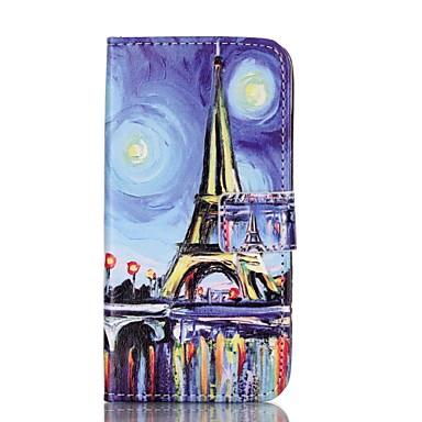 Mert iPhone 6 tok / iPhone 6 Plus tok Állvánnyal / Flip / Minta / Dombornyomott / Mágneses Case Teljes védelem Case Eiffel torony Kemény