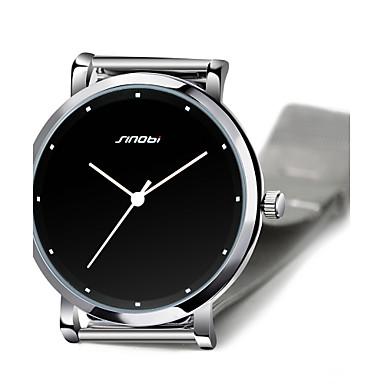 SINOBI Homens Relógio de Pulso Quartzo Impermeável Aço Inoxidável Banda Prata