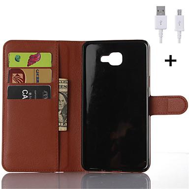 삼성 갤럭시 A3 / A5 / A7 / A8 / A9을위한 USB 케이블 PU 가죽 플립 지갑 케이스