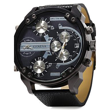 Муж. Армейские часы Наручные часы Кварцевый С двумя часовыми поясами С тремя часовыми поясами Кожа Группа Аналоговый Роскошь Черный - Оранжевый Красный Синий Один год Срок службы батареи / SSUO LR626