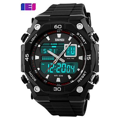 SKMEI 남성용 디지털 스포츠 시계 달력 방수 실리콘 밴드 참 블랙