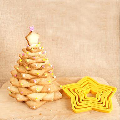 6 pcs cinco estrelas bolo molde biscoito de cozimento ferramenta de corte die biscuit molde