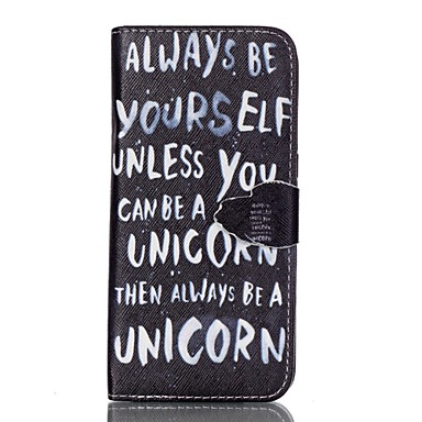 Capinha Para Samsung Galaxy Samsung Galaxy S7 Edge Porta-Cartão Carteira Com Suporte Flip Capa Proteção Completa Palavra / Frase PU
