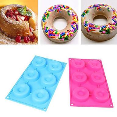 6 cavidades kits de decoração sobremesa Bolo do anel donut filhós bundt de chocolate de molde de silicone de cor aleatória