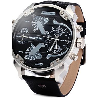 저렴한 남성용 시계-남성용 밀리터리 시계 손목 시계 석영 가죽 블랙 / 브라운 달력 듀얼 타임 존 아날로그 사치 - 브라운 그린 실버 / 블랙 2 년 배터리 수명 / 스테인레스 스틸 / SOXEY SR626SW