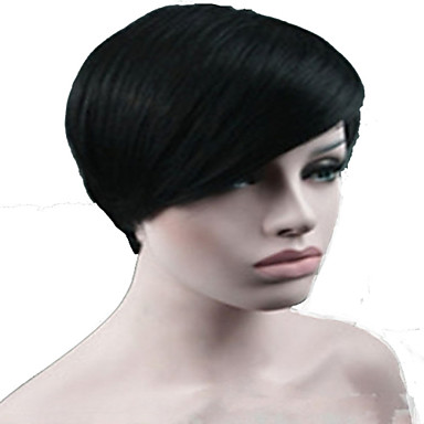Mulher Perucas sintéticas Sem Touca Curto Liso Preto preto peruca Peruca de celebridade Perucas para Fantasia