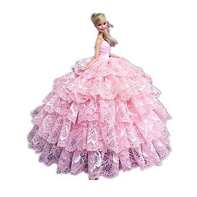 Princesa Vestidos Para Boneca Barbie Renda Vestido Para Menina de Boneca de Brinquedo