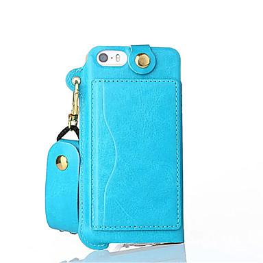 Mert iPhone 5 tok Kártyatartó / Állvánnyal Case Erszény Case Egyszínű Kemény Műbőr iPhone SE/5s/5