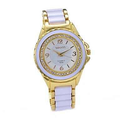 여성용 패션 시계 모조 다이아몬드 시계 석영 모조 다이아몬드 세라믹 밴드 멀티컬러