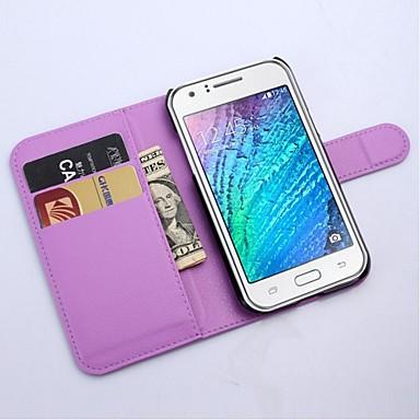 voordelige Galaxy J-serie hoesjes / covers-hoesje Voor Samsung Galaxy J1 Portemonnee / Kaarthouder / met standaard Volledig hoesje Effen Kleur PU-nahka