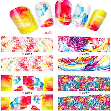 8pcs Nail Art matrica Víz Transfer matrica Rajzfilmfigura Szeretetreméltő smink Kozmetika Nail Art Design